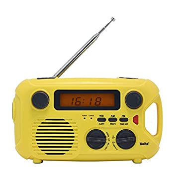 Kaito Emergency Radio KA580 Digital Solar Dynamo Crank Wind Up AM/FM & NOAA Weather Radio Receiver with Real-time Alert MP3 Player & Phone Charger  Yellow