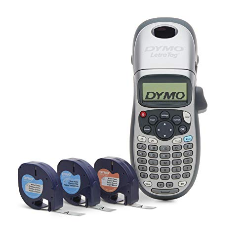 DYMO Label Maker with 3 Bonus Labeling Tapes | LetraTag 100H Handheld Label Maker & LT Label Tapes,...