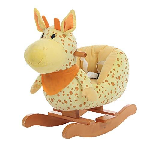 Xinjin Kind Schaukelpferd Plüsch, Kitz Schaukelpferd gefüllt, Giraffe Baby Rocker für Kinder 1-3 Jahre, Schaukelspielzeug/Holz Schaukelpferd/Tier Rocker Spielzeug/Hirsch Rocker