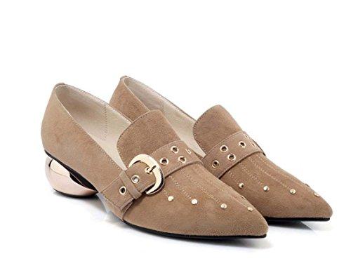 Maultier schoen slip on mode Chunky hiel handgemaakte schoenen Low Heel werkschoenen vrouwen businessschoenen (Color : Apricot)