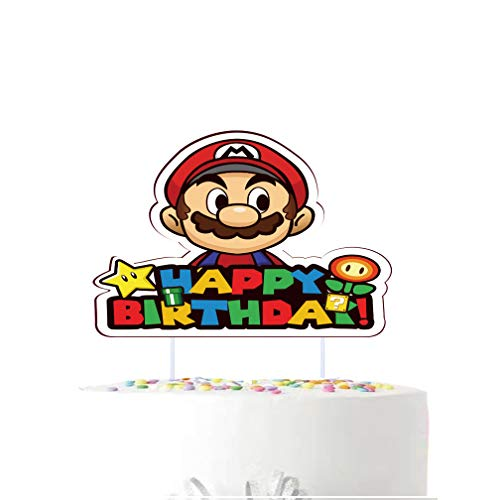 Cake Topper for Super Mario Happy Birthday Cake Topper , Kids Boys Brothers Video Game Themed Party Decoration