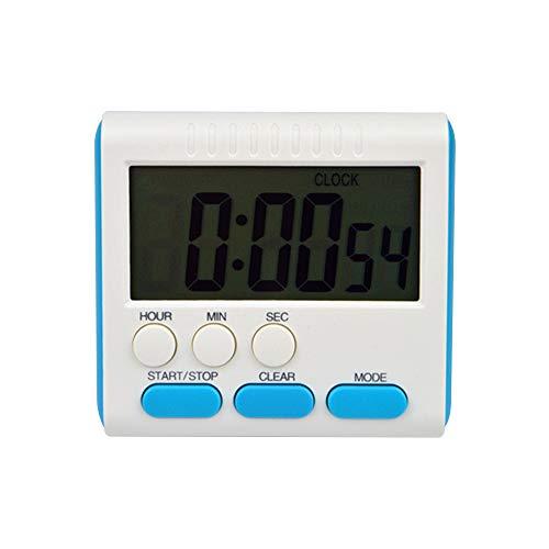 Cyond magnetischer Wecker/LCD/Küchentimer/Countdown/Sportuhr/Alarm/Klapphalterung/Funkuhr/grüner Kunststoff/Kinderwecker (Blau)