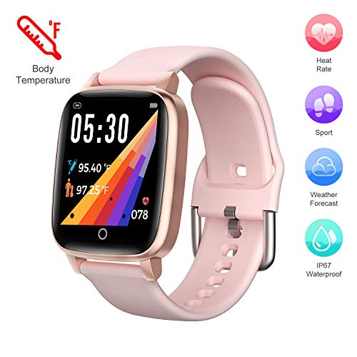 Bomow Fitness Tracker,Kids Smart Watch,Sports Activity Tracker with Heart Rate Monitor,Body Temperature Measurement,Weather Forecast,1.3'' Calorie Pedometer Waterproof Smartwatches for Women Men Gifts