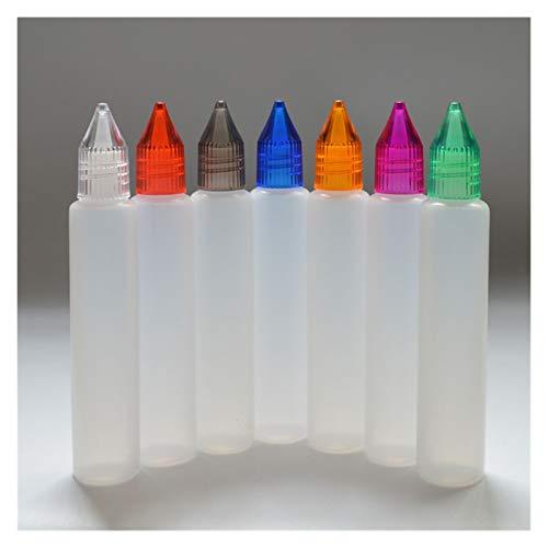 MHXY Transparent 5 stücke 30ml Leerer Stift Stil Troppfeflasche Plastikflasche mit bunten Kappe und Langen TIPP leer E flüssige Flasche Glasflasche (Specifications : 30ml)