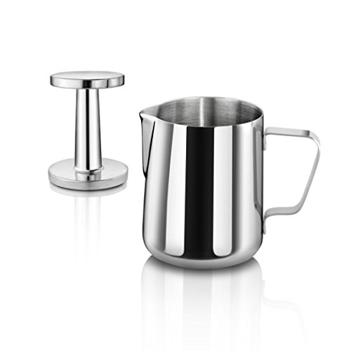 New Star Foodservice 28829 Commercial Grade Stainless Steel 18/8 12 oz Frothing Pitcher and Die Cast...