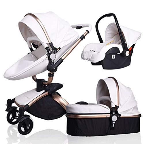 Cochecito de bebé de diseño de cáscara de huevo, cochecito de silla de bebé para bebé de alto paisaje, cochecito plegable con dosel ajustable, cesta de almacenamiento, área de asiento grande, implemen