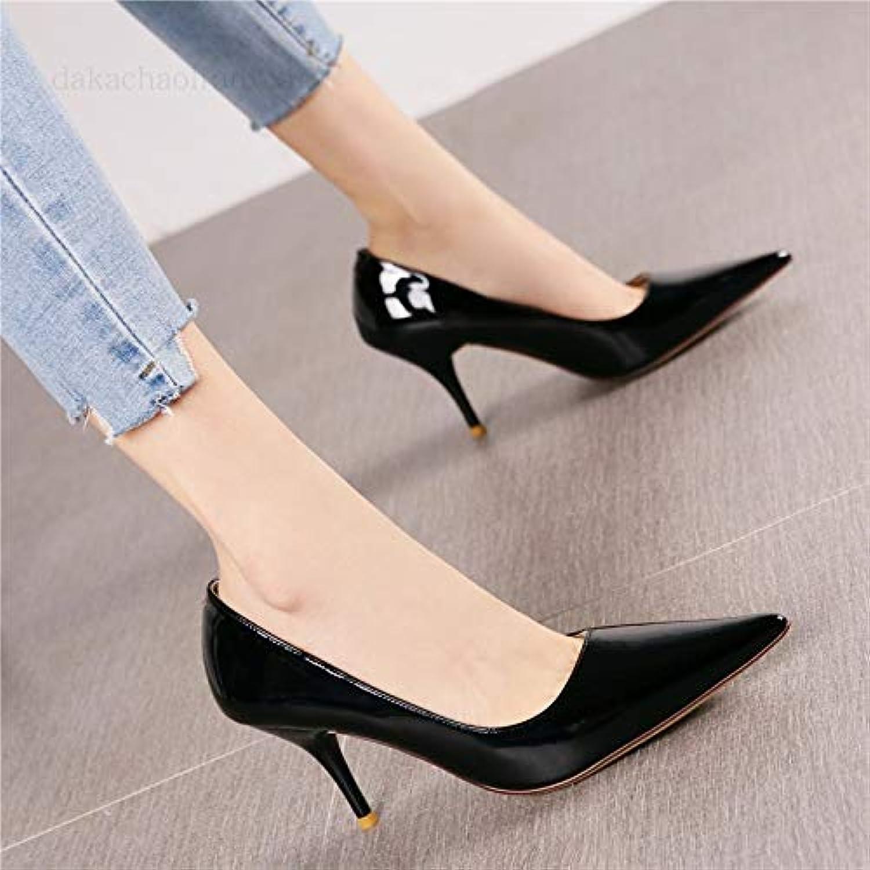 HRCxue Pumps Mode Lackleder Flacher Mund Stiletto High Heels weibliche Wilde Weinrot Spitze einzelne Schuhe weiblich