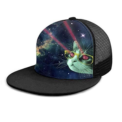 Rote Meme Baseballkappe mit Laser-Katzenbrille, für Damen und Herren, verstellbar, Trucker-Mesh-Snapback-Hüte, 6 Paneel-Kappen, Polo-Stil, Väter, Unisex