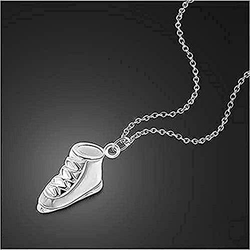 NC188 Collar de Plata para Mujer, diseño de Patines de Hielo, Colgante de Plata Maciza, Collar Corto para Mujer, joyería para el Cuerpo, Regalo para Mujeres, Hombres, niñas, niños