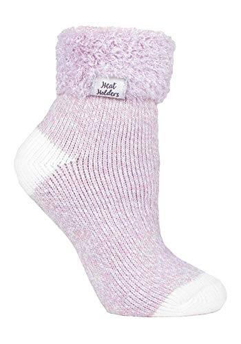 HEAT HOLDERS - Damen Fleece Flauschig Gestreift Thermo Kuschelsocken (37/42, Light Mauve (S TOT))