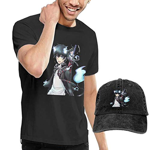 Blue Exorcist Rin and Cat Casual Men's Short Sleeve T Shirt and Adult Washed Adjustable Cowboy Hat,M