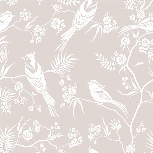 decomonkey Fototapete | Tapetenrolle 10 m Tapete Vliestapete Deko Panel Modern Design Wanddeko Wandtapete | Vogel Baum Blumen
