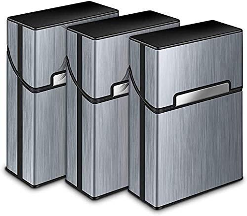 Gymqian Caja de Cigarrillos 3 Paquetes, Titular de Cigarrillo de Aluminio Cigarrillo de Estaño de Estaño de Aluminio, Cigarro de Cigarrillo, Tobaco, Caja de Caja, Caja de Cigarros,