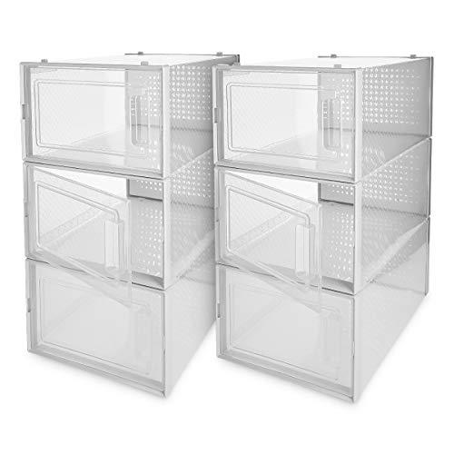 Navaris Schuhbox Set Schuhkarton Schuhkasten Aufbewahrung - transparente Seiten und Frontöffnung - platzsparend und stapelbar - Set mit 6 Boxen