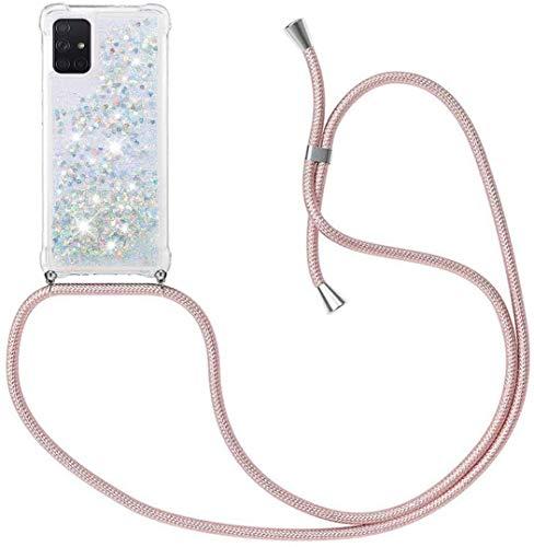 HongMan Funda Bling Glitter Liquida con Cuerda para Samsung Galaxy J5 2017/J530,Transparente Cristal Suave Silicona TPU Bumper Protector Carcasa con Colgante Ajustable Cordón - Case y Correa