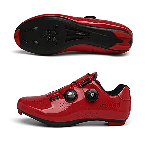 WYUKN Zapatilla de Ciclismo Profesional Hombre Mujer Zapatos de Ciclismo de Antideslizantes SPD/SPD-SL Lock System para Bicicleta de Montaña/Carretera,Red-41EU