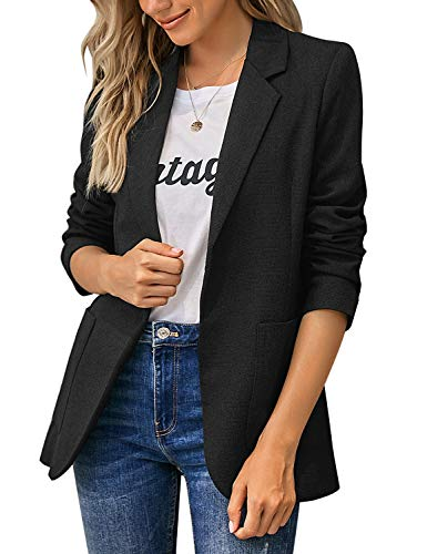 Paitluc Women Blazers Casual Jackets Long Sleeve Ruched Work Office Button Suits Black Size M