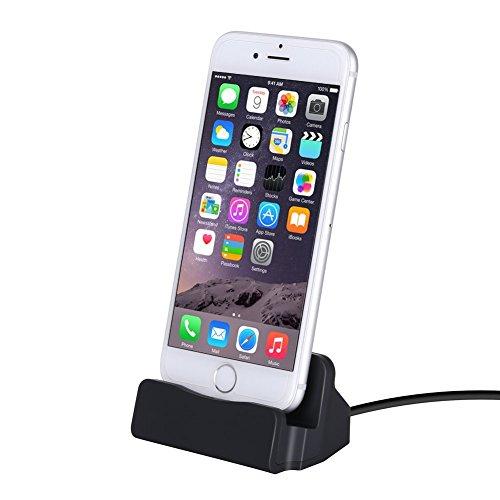 YooGoal Dockingstation Schreibtischladegerät, Ladedock, Charger Dock Station mit Kabel Ladegerät für Phone12 11 Pro MAX XS Max XS XR X 8 8Plus 7 7Plus 6 6S Plus 5 5S SE und mehr - Schwarz