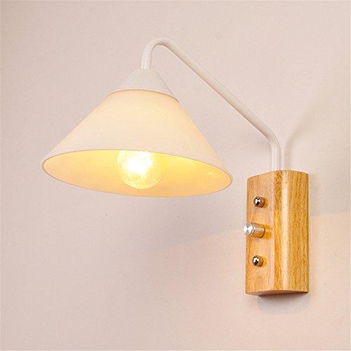 Amadoierly Applique En Bois De Style Japonais E27 Lighting Chambre Lampe De Chevet Salon Balcon Corridor Décoration, Blanc