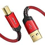 JSAUX Cable Impresora USB [3M] Duradero Cable Impresora Cable Tipo B 2.0 Compatible para Impresora HP, Epson,Canon,Brother,Lexmark,Escáner,Disco Duro,Fotografía Digital y Otros Dispositivos-Rojo