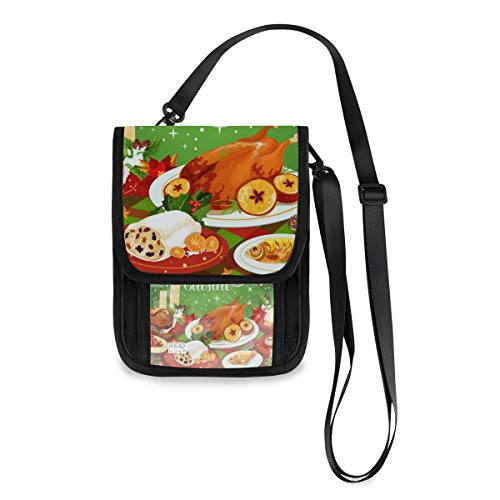 XiangHeFu Telefon Tasche große Kapazität Münzkoffer Kartenhalter Brieftasche Weihnachtsküche Leder Geldbörse