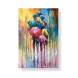 Arte de la Pared de la Lona 60x80cm 1 Piezas SIN Marco Moderno Abstracto Día lluvioso Colorido Paraguas Cartel de la Lona Impresión Imagen Arte de la Pared Pinturas Decoración de la Sala de Estar