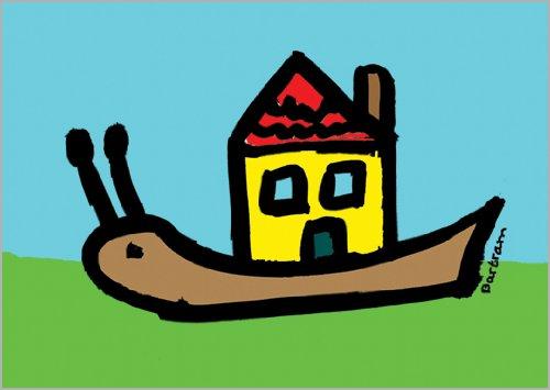 In 5-delige set: De slak met het nieuwe huis – een prachtige kaart voor verhuizing.