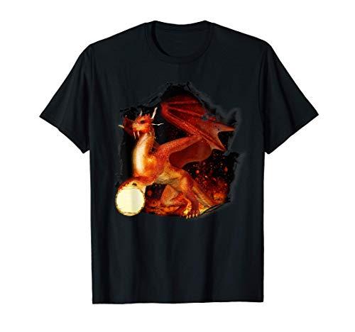 Drachenland roter Drache mit Kugel T-Shirt