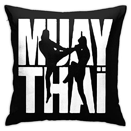 Muay Thai Heart Beat Funda de Almohada Cuadrada Sofá casero Decorativo 45X45cm Funda de Almohada cómoda Ultra Suave