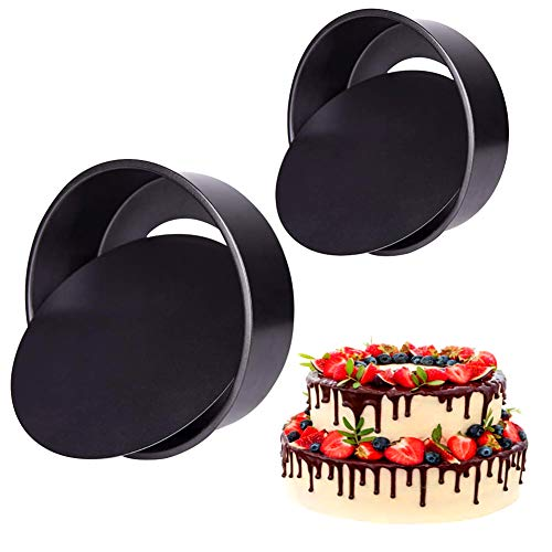 Round Cake Tin Set with Loose Base, 2 Pack Non-Stick Deep Carbon Round Cake Pan with Removable Bottom for Wedding/Birthday/Christmas Cake Baking 6-Inch +8 inch