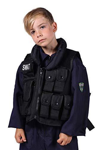 SWAT-Weste Deluxe mit vielen Taschen & Swat-Bagde Kinder Größenverstellbar Polizeikostüm Oberteil FBI SEK Karneval Fasching Hochwertige Verkleidung Fastnacht Einheitsgröße Schwarz
