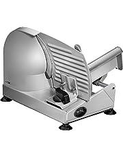 Clatronic MA 3585, volledig metalen allessnijder, groot roestvrij stalen mes (Ø 190 mm), 150 Watt, universele gekartelde rand, gegoten aluminium motorbehuizing, traploze snijdikte (0-15mm)