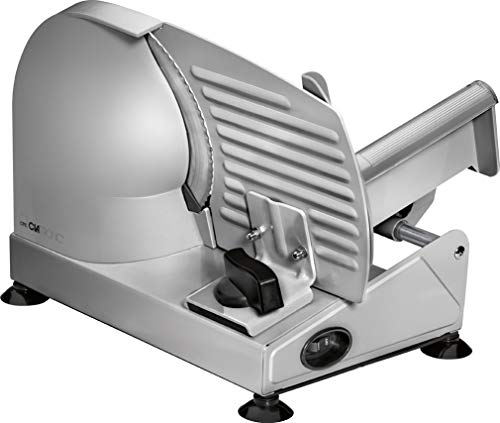 Clatronic MA 3585, Metall-Allesschneider, Brotschneidemaschine, Wurst-Schneider elektrisch, mit großem Messer aus Edelstahl rostfrei (Ø 190mm), elektrische Schneidemaschine, 150 Watt