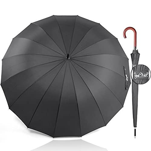 Royal Walk Groß XXL 54 inch Automatik Reise Golf Regenschirm für Damen und Herren Sturmfest Windsicher Leicht Klassisch für 2 Personen Holzgriff Wasserabweisend 16 Rippen...