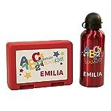 Geschenke 24 Einschulung Set personalisiert Trinkflasche und Brotdose (Rot): Brotdose Schule, Brotdose mit Namen, Trinkflasche mit Namen - Einschulungsgeschenke