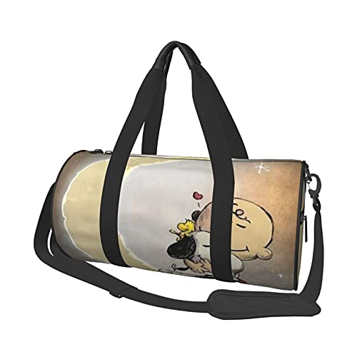 Snoopy de dibujos animados multifuncional con cremallera para mujeres y hombres bolsa de hombro redonda bolsa de deporte bolsa de compras bolsa de gimnasio bolsa de viaje