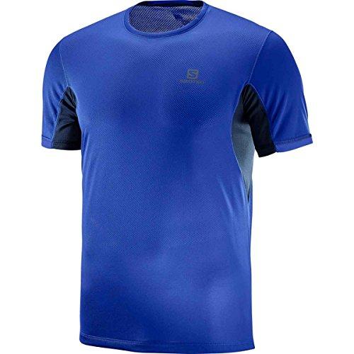 Salomon Homme T-Shirt de Sport à Manches Courtes, AGILE + SS, Polyester, Bleu, Taille S, L40116000