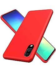 CRABOT Compatible con Samsung Galaxy A60 Silicona Líquida Caso Cubierta de Goma Anti-caída Resistente a Los Arañazos Carcasa del Teléfono+1*(Protector de Pantalla Gratuito)-Rojo