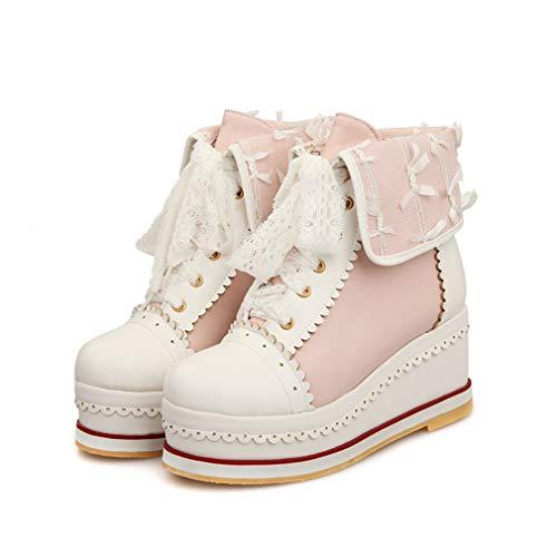 HILIB Women's Cute Lolita Boots Cosplay Brogue Wedge Boots Pink