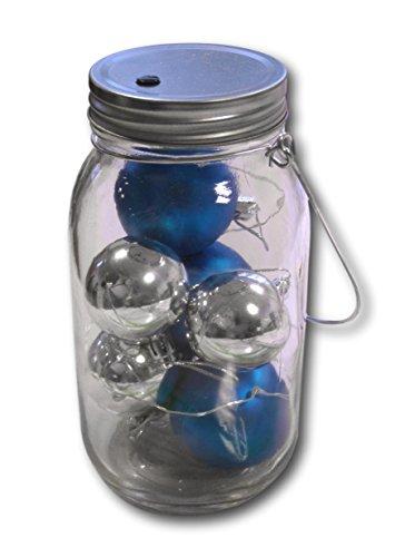 Kerstballen in glas met LED-lichtketting decoratie decoratie kerstmis draadlicht met bollen (turquoise-zilver)