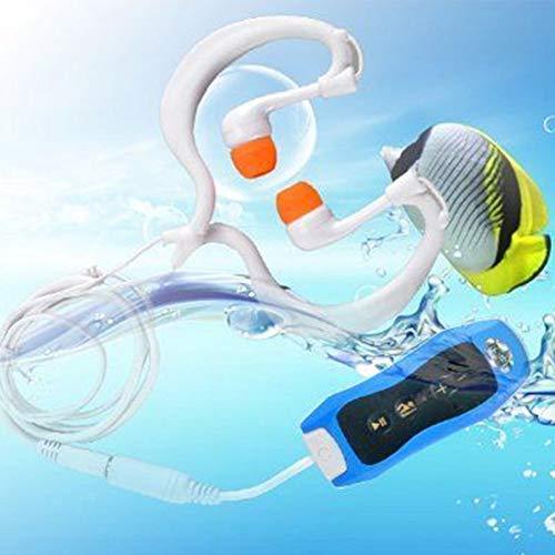 ORETG45 Reproductor de música MP3 multifunción con cable FM Radio Buceo Hogar Portátil .0 Mano Natación IPX8 Impermeable Recargable Deportes acuáticos (azul)