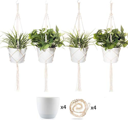 T4U 7 Inch Plastic Self Watering Pots with Macrame Plant Hangers, Set of 4 with 4 Ceiling Hooks Included, for All House Plants, Flowers, Herbs, Foliage Plants, African Violets