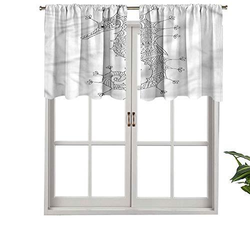 Hiiiman Cortina de ventana con barra de filtrado de luz, cenefa de ahorse de mar, arte heráldico, juego de 1, 91,4 x 45,7 cm para ventanas de dormitorio, cocina o baño