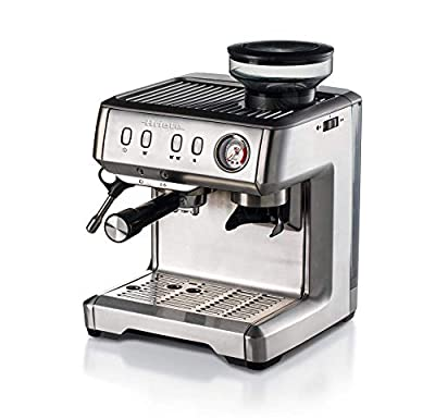 Ariete 1313 Metal Espresso Machine, Automatic Bean to Cup Coffee Maker with Grinder, Barista Style Lattes Cappuccinos Americanos, Powder or Pods, Stainless Steel
