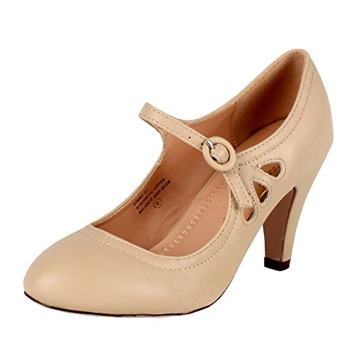 Chase & Chloe KIMMY-21 Nude Round Toe Pierced Mid Heel Mary Jane Dress Pumps (7)