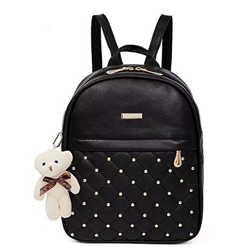 TYPIFY PU Leather Teddy Keychain Stylish and Trending Backpack for College Office for Women (Black)
