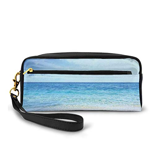 Pencil Case Pen Bag Pouch Stationary,Wavy Crystal Sea and Sky with Clouds at The Sandy Beach Be Grateful to Nature Theme,Small Makeup Bag Coin Purse