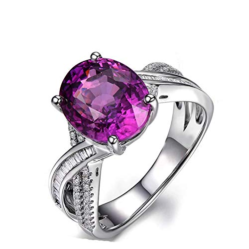AueDsa Engagement Rings 925 for Women,Sapphire Ring Purple Oval with 9X11MM White Purple Sapphire Ring Size O 1/2