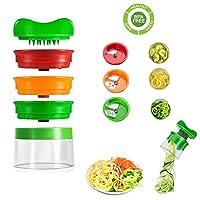 xunke affetta verdure affettatrice a spirale spiralizzatore spiralizer creativo taglierina mano con 3 lame, strumento per tagliare le verdure per carote, cetrioli, patate, zucca, zucchine