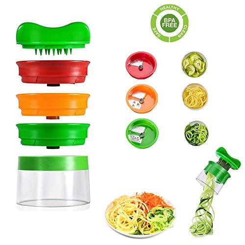 WELLXUNK Spiralschneider Hand für Gemüsespaghetti, 3-Klingen Gemüseschneider für Karotte, Gurke, Kartoffel, Kürbis, Zucchini